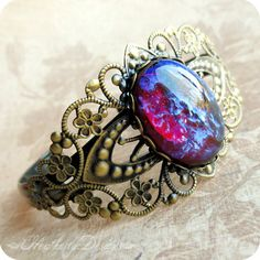 Design your own photo charms compatible with your pandora bracelets. Cool Flame: mexican opal dragon's breath glass stone and aged brass filigree bold statement cuff bracelet Opal Jewelry, Jewelry Box, Jewelry Rings, Unique Jewelry, Jewelry Accessories, Jewelry Design, Jewlery, Cz Jewellery, Jewelry Stores