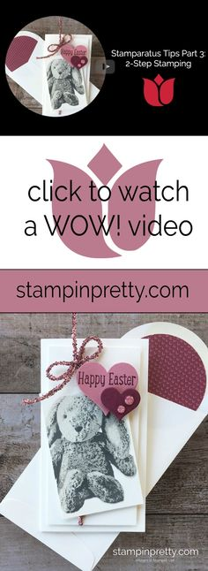 WOW Video by Mary Fish, Stampin' Pretty!  How to use the Stamparatus Stamp Positioning Tool.  Part 3 : 2-Step Stamping . #maryfish #stampinpretty #wowvideo