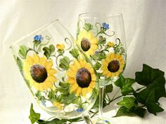 A personal favorite from my Etsy shop https://www.etsy.com/listing/176893291/sunflowers-hand-painted-on-a-pair-of