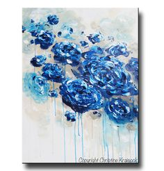 ART PRINTS Large Art Blue Abstract Painting por ChristineKrainock