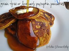A full cup of vegetables for every 1/4 cup of grains! Now that is one healthy pancake. Choose your flours to make them gluten-free and even grain-free, always low-carb. Get the pumpkin pancake recipe from Kitchen Stewardship.