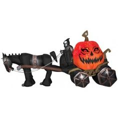 PROJECTION AIRBLOWN REAPER - If you want to make an incredible impression with your Halloween display, this is the item you're going to need. Inflatable horse and carriage set features death himself riding and holding the reins with a giant orange pumpkin in back sporting magical evil grin as if the pumpkin is alive!
