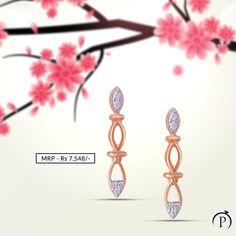 Pretty Diamond Rose Gold Earring for her. Order now and get it delivered at your doorstep from plushvie. Shop Jewellery on EMI and pay at ease . Diamond Jewelry, Gold Jewelry, Fine Jewelry, Jewellery, Rose Gold Earrings, Women's Earrings, Diamond Earrings, Diamonds And Gold, Gold Pendant