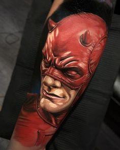 Daredevil, awesome portrait tattoo done by tattoo artist Daniel Bedoya Spiderman Tattoo, Batman Logo Tattoo, Dc Tattoo, Avengers Tattoo, Comic Tattoo, Marvel Tattoos, Temp Tattoo, Temporary Tattoo Sleeves, Custom Temporary Tattoos