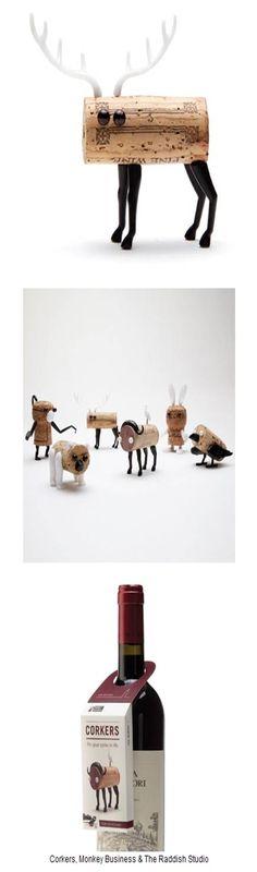 'Corkers', designed by Monkey Business & The Raddish Studio. l 이스라엘의 팬시 용품 업체인 몽키 비즈니스(monkeybusiness.co.il)와 디자인 스튜디오인 레디시 스튜디오(reddishstudio.com)가 만든 코커스는 와인의 코르크 마개를 재료로 사용자 스스로 만드는 장난감. 제품에는 설명서와 핀이 달린 플라스틱 팔, 다리가 있다. 사용자는 설명서에 따라 작은 팔과 다리를 코르크 마개에 꽂아서 작고 깜찍한 동물 인형을 만든다. 와인을 막아놓은 코르크 마개는 와인을 다 마시면 버려야 하지만, 발상을 전환하면 누구나 좋아할 만한 작은 인형으로 탄생한다. 직접 조립하게 해 와인을 마시는 것뿐 아니라 직접 무엇을 만드는 행위도 같이 경험한다. 또한, 설명서를 그대로 따르지 않고 창의력을 발휘해 나만의 작품을 만든다. 완성작들은 작품이자 귀여운 장난감으로 어디서든 전시를 할 만한 괜찮은 제품이다.