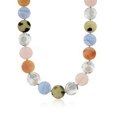 C. 1990 Vintage Tiffany Jewelry and Paloma Picasso Multicolored 20mm Bead Necklace in Sterling Silver.  C. 1990. From Tiffany's and designer Paloma Picasso, this fabulous multicolored bead necklace is a wearable work of art. Features blue agate, crystal quartz, rose quartz, turquoise and orange agate.  Stone 1: Agate blue Stone 2: Rock Crystal  Stone 3: Quartz (Color: Rose,  Stone 4: Turquoise:  (Color: Yellow  Stone 5:  Agate (Color: Orange