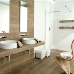 Timber look tiles - good colour for the bathroom floors