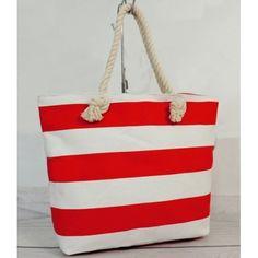 f8d5d4733816 Dámska plážová taška bielo červenej farby - fashionday.eu