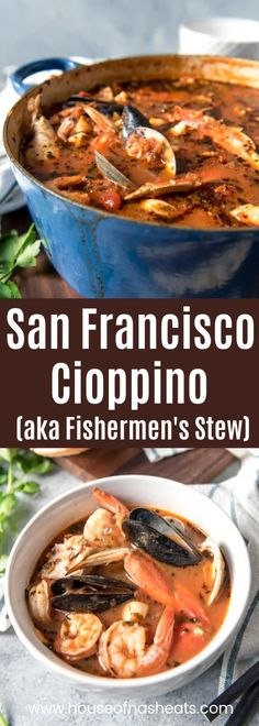 Considered the signature dish of San Francisco, Cioppino is a wonderful seafood stew that is perfect for entertaining and holidays. Serve this with crusty sourdough bread to sop up all the delicious broth for a truly Californian dining experience! Seafood Gumbo, Seafood Dinner, Mussels Seafood, Seafood Bisque, Seafood Pasta, Lobster Bisque Recipe, Seafood Soup Recipes, Dinner Recipes, Meat Recipes
