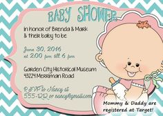 Baby shower invitation blue chevron with pink baby by OldOwlPress