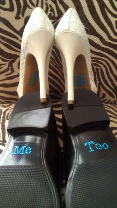 Neat Idea :) I Do and Me Too Shoe Stickers Clear / Blue by BrideBikini on Etsy