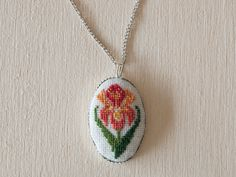 Cross stitch pendant  Iris Flower Orange by BlackCatHandmadeShop