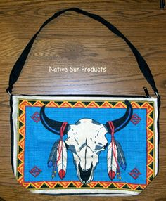 "Purse Handbag Buffalo Skull Natve American theme Cotton Canvas 13x19"" Zips close $21.95 w/ free shipping #purse #handbag #buffalo #nativeamerican"
