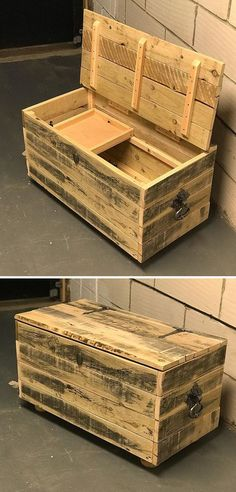 61 Awesome DIY Pallet Shelves Ideas for Home Sensod Create. Pallet storage box projects The post 61 Awesome DIY Pallet Shelves Ideas for Home Sensod Create. appeared first on Pallet Ideas. Pallet Ideas, Pallet Boxes, Pallet Storage, Wood Storage Box, Wooden Pallet Projects, Pallet Shelves, Pallet Wood, Pallet Diy Decor, Pallet Trunk