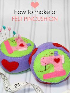 free sewing pattern, how to make a felt pincushion