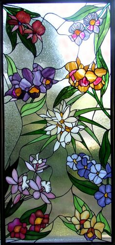 Floral, stained glass