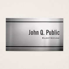 Electrician - Cool Stainless Steel Metal Business Card #electrician #sparky #businesscards