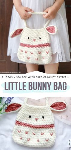 Sweet Crochet Bunny Ideas Kostenlose Muster Little Bunny Bag Free Crochet P . Crochet Easter, Crochet Girls, Cute Crochet, Crochet For Kids, Crochet Crafts, Crochet Projects, Knit Crochet, Vintage Crochet, Sewing Projects