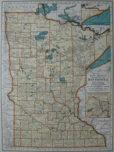 1939 Vintage MINNESOTA MAP 1930s Antique State Map Beautiful Color Plaindealing 502. $9.95, via Etsy.