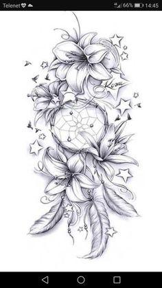 No stars and maybe diff flowers, but the direction i .-Keine Sterne und vielleicht diff Blumen, aber die Richtung ist süß Tattoo ideen – flower tattoos No stars and maybe diff flowers but the direction is cute Tattoo ideas - Feather Tattoos, Nature Tattoos, Leg Tattoos, Body Art Tattoos, Cool Tattoos, Tattoo Drawings, Tatoos, Tattoos Skull, Maori Tattoos
