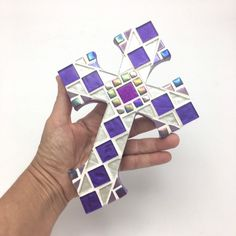 "Purple White Mosaic Wall Cross, 9""x6"" Decorative Cross, Unique Baptism Gift, Goddaughter Gift, Godmother, First Communion Cross #hamptonmosaics #christianhomedecor #purplewallcross #religiousspiritual #goddaughtergift #fromgodmothergift #uniquecrossdecor #baptism #purple #white #etsy"