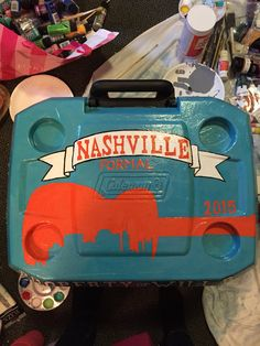 Cooler painting. Nashville Tennessee formal. Guitar Fraternity Coolers, Frat Coolers, Formal Cooler Ideas, Diy Cooler, Cooler Painting, Sorority Gifts, Keep Cool, Nashville Tennessee, New Hobbies