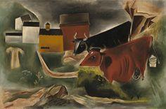 Kuniyoshi Yasuo, Cows in Pasture, Corcoran Gallery, Washington D. Kuniyoshi, National Gallery Of Art, Japanese Artists, Types Of Art, Animal Paintings, American Artists, Cows, Love Art, Oil On Canvas