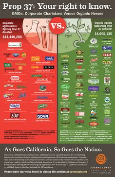 GMOs are not safe. Make sure to avoid canola oil, corn, soy, papaya and sugar beets unless they are organic! Check all your packaged products! This poster shows which companies support GMO labeling (Prop 37) and which don't. You know, if something is really safe, there is not a problem in honestly labeling it. Consumers have a right to know what they are eating. Simple.