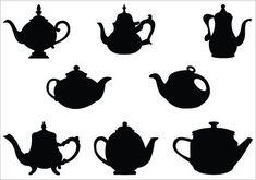 Teapot silhouette vector illustrations teacup vector clipart