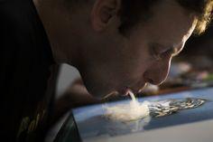 Artist turns marijuana smoke into works of art:  Brazilian painter, Fernando de la Rocque, makes art in his Rio de Janeiro studio out of smoking pot. It takes him a week to do a single print — blowing about five joints of smoke onto a paper daily.