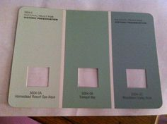 Perfect perfect perfect!! Love these for the bathroom. For sure painting bathroom #1 in these color and doing a beach theme with the decor. I may go ahead and paint bathroom #2 the same color, but right now I can't decide. The swatch is from Lowe's. Brand is Valspar. Colors are (lightest to darkest) Homestead Resort Spa Aqua, Tranquil Bay, and Woodlawn Valley Haze.