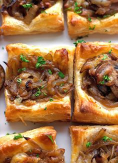 Gruyere, Mushroom, & Caramelized Onion Bites with Salted Butter, Vegetable Oil, Crimini Mushrooms, Yellow Onions, Dried Thyme, Sugar, Balsamic Vinegar, Garlic Powder, Salt, Pepper, Grated Gruyere Cheese, Frozen Puff Pastry, Egg.