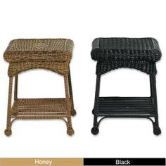 Black wicker table to go in between my black rocking chairs on my front porch.