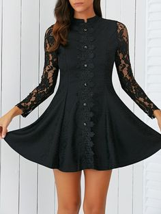 SHARE & Get it FREE | Elegant Slimming Button Design Lace DressFor Fashion Lovers only:80,000+ Items • New Arrivals Daily • Affordable Casual to Chic for Every Occasion Join Sammydress: Get YOUR $50 NOW!