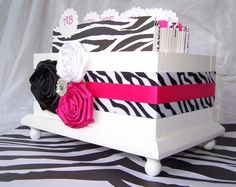 Wedding Guest Book Box  Zebra Black White and Hot Pink by itsmyday, $68.00    Idea for food display - multiple layers