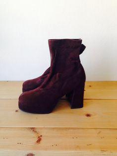 Burgundy Boots/Vintage 90's Platform Velvet by LydiaLoveVtg