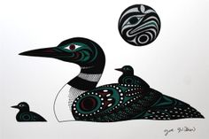 Joe Wilson - Loons --Print Northwest Coast Native Indian First Nations Cowichan Arte Inuit, Arte Haida, Haida Art, Inuit Art, Native Canadian, Canadian Art, Native American Art, Canadian Tattoo, American Symbols