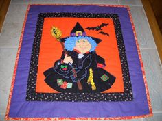 Trick or Treat My Lovely   :-) Handquilted Halloween Witch Wall Hanging Quilt *She's a Cutie!! | eBay