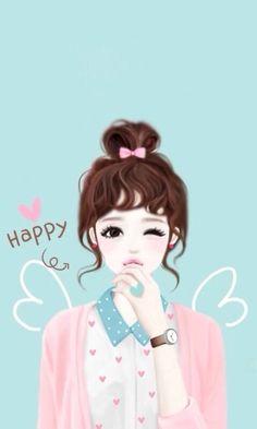 blue, cute, girl, happy, heart, pink, wings, Enakei