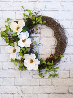 Magnolia Wreath Spring Wreath Wedding Wreath Rustic by Dazzlement Wreath Crafts, Diy Wreath, Grapevine Wreath, Christmas Floral Designs, Magnolia Wreath, Wedding Wreaths, Fall Wreaths, Summer Wreath, Floral Wreath