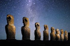 https://flic.kr/p/6uAy26 | Moai on Easter Island | EASTER ISLAND -- The moai on Easter Island with the Milky Way circling above.