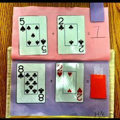 Card addition flip books with hidden answers  The kids glued on cards to double sided paper (cards found at the dollar store for 99 cents).... They then test each other and write the equations.....  Kindergarten