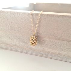 Gold Necklace Gold Pine Cone Necklace Dainty by AvaHopeDesigns