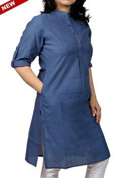 """Women Corporate Kurtas,Indian Concepts ,Roll-Up Sleeves Pleated Yoke Corporate Blue Kurta"" Salwar Designs, Kurti Neck Designs, Blouse Designs, Salwar Pattern, Kurta Patterns, Denim Kurti, Kurta Style, Sari, Indian Designer Wear"