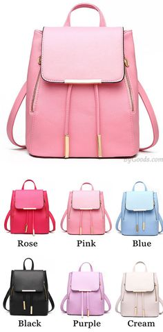 Which color do you like? Elegant Pink Funky Lady Solid Simple Square PU Drawstring Hasp Satchel Backpack #backpack #school #college #bag #lady #rucksack #elegant #fashion #pink