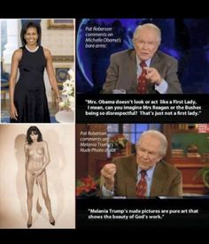 Laura Robinson Follow · December 27 ·    I have held back from posting porn pics of Melania because I truly feel sorry for her. I'm sure the orange monster that she possibly thinks she loves abuses her psychologically. However, Pat Robertson is such a subhuman that I must point this out before FB removes her lovely pictures.