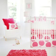 Rosenberry Rooms has everything imaginable for your child's room! Share the news and get $20 Off  your purchase! (*Minimum purchase required.) Spot On Fuchsia Crib Bedding Set #rosenberryrooms