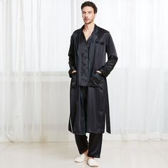 22 Momme Casual Long Silk Pyjamas & Dressing Gown Set for Men