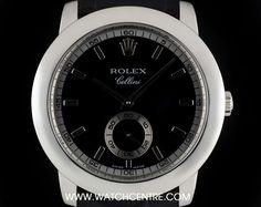 #Rolex #Platinum Black & Silver Baton Dial #Cellini Gents #Wristwatch #5241 Rolex Cellini, Used Rolex, Patek Philippe, Audemars Piguet, Rolex Watches, Black Silver, Centre