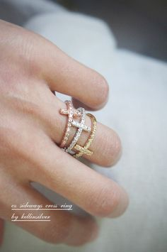 Sideways Cross Ring Rose Gold at Kellinsilver.com – rose gold band ring, rose gold stackable ring, rose gold stacking ring